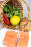 Salmon steaks and ingredients Stock Photos