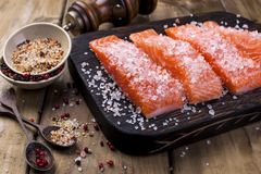 Salmon steaks with large salt, lemon and spices. Preparation of tasty and healthy food. Place for text. Seafood.  Royalty Free Stock Image