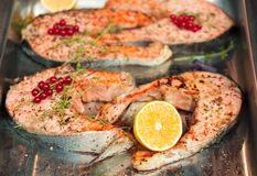 Salmon steaks. With lemon in a metal bowl Stock Image