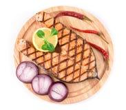 Salmon steaks on platter Royalty Free Stock Photo