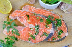 Salmon steaks prepared for baking. Spiced with salt, lemon, parsley, oil, garlic... Royalty Free Stock Image