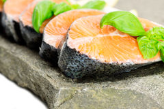 Salmon on stone with basil and lemon Stock Images