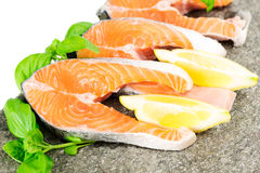 Salmon on stone with basil and lemon isolated on white Stock Photos