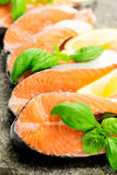Salmon on stone with basil and lemon vertical Stock Photography