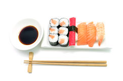 Salmon and surimi sushi Royalty Free Stock Photo