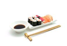 Salmon and surimi sushi Royalty Free Stock Images