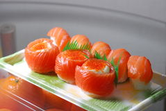 Salmon Sushi. Japanese food Salmon Sushi salad source Stock Photography