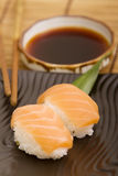Salmon sushi. And soy sauce Stock Image