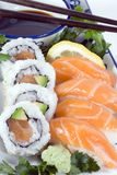 Salmon Sushi. And sushi rolls, bowl with soy sauce and chopsticks, and dollop of wasabi stock image