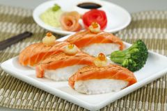 Salmon sushi a great taste of Japanese food  Stock Photography