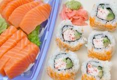 Salmon Sushi. Japanese cuisine sushi set with salmon Royalty Free Stock Photography