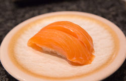 Salmon Sushi. On the dishes Royalty Free Stock Photography