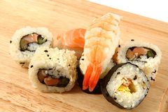 Salmon sushi as gourmet food Stock Photos