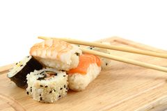 Salmon sushi as gourmet food Stock Image