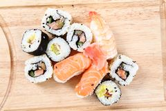 Salmon sushi as gourmet food Royalty Free Stock Photos