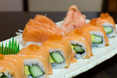 Salmon sushi closeup Stock Images