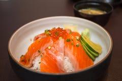 Salmon sushi don. In Japanese Restaurant Stock Photography