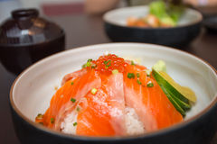 Salmon sushi don. In Japanese Restaurant Stock Photos