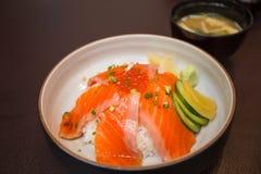 Salmon sushi don. In Japanese Restaurant Stock Images