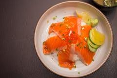 Salmon sushi don. In Japanese Restaurant Royalty Free Stock Photo