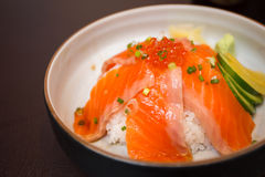 Salmon sushi don. In Japanese Restaurant Royalty Free Stock Photography