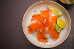Salmon sushi don. In Japanese Restaurant Royalty Free Stock Photos