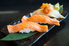 Salmon sushi and engawa sushi Stock Photography