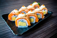 Salmon sushi, Japanese food delicious menu, vignette effect Royalty Free Stock Images