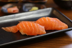 Salmon Sushi, Japanese Food. Two salmon sushi on a plate, Japanese food Stock Images