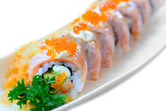 Salmon sushi maki roll Stock Photos