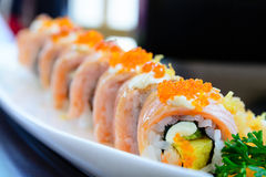 Salmon sushi maki roll Royalty Free Stock Photo