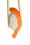 Salmon sushi nigiri isolate on white background Stock Image