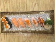 Salmon Sushi-reeks royalty-vrije stock foto's