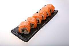 Salmon Sushi Roll Immagine Stock