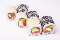 Salmon Sushi Roll Foto de archivo libre de regalías