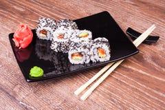 Salmon Sushi Roll imagen de archivo