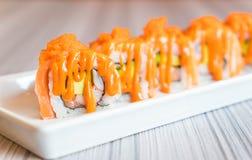 Salmon Sushi Roll Royaltyfria Foton