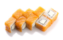 Salmon sushi roll with cheese isolated Royalty Free Stock Photography