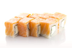 Salmon sushi roll with cheese isolated Stock Photography