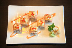 Salmon Sushi roll with cheese Royalty Free Stock Photography