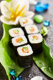 Salmon Sushi Roll Stock Photography