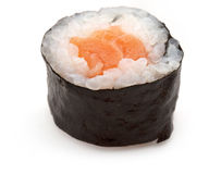 Salmon sushi roll. Isolated on white background Royalty Free Stock Photo
