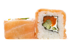 Salmon sushi roll isolated Stock Images
