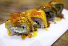 Salmon sushi roll japanese food Stock Photo