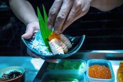 Salmon sushi roll, Japanese food royalty free stock photo