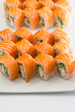 Salmon sushi roll Stock Images