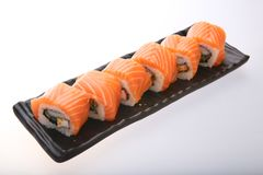 Salmon sushi roll. Japanese food Stock Photo