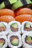 Salmon sushi rolles royalty free stock photo