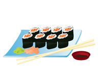 Salmon Sushi Rolls. Illustration of Salmon Sushi Rolls served with wasabi, pickled ginger, and soy sauce Royalty Free Stock Images