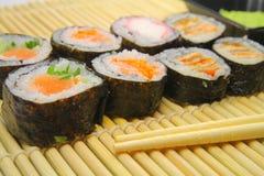 Salmon Sushi Rolls foto de archivo libre de regalías